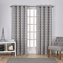 Exclusive Home Curtains Cressy Geometric Textured Linen Jacquard Window Curtain Panel Pair with Grommet Top, 54x84, Ash Grey, 2 Piece