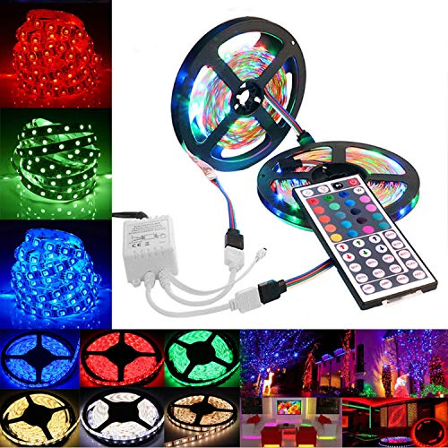 L-E-D Strip Lights String Tape+44 Key IR Remote Control Supply for TV Room Kitchen Party Decoration Bedroom (10M)