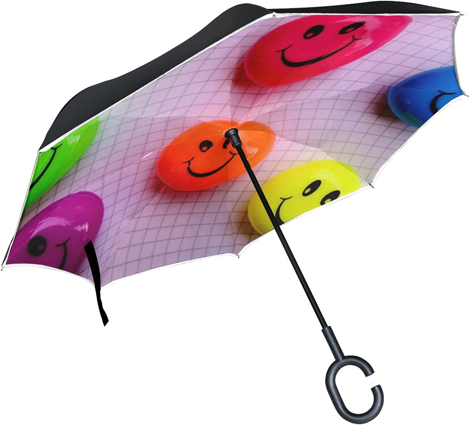 Double Layer Ingreened Smilies Funny Cheerful Smile colorful Faces Laugh Umbrellas Reverse Folding Umbrella Windproof Uv Predection Big Straight Umbrella for Car Rain Outdoor with CShaped Handle