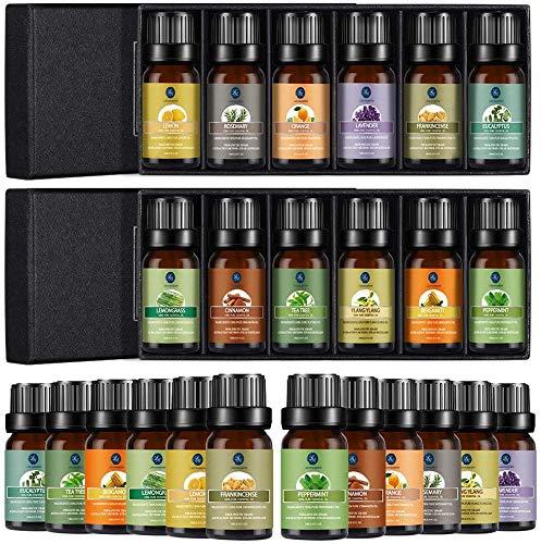 Lagunamoon Essential Oils Sets 12 Pcs Premium Aromatherapy Oils for Diffuser, Humidifier, Massage, Relax, Aromatherapy, Lavender, Tea Tree, Peppermint, Lemongrass, Orange, Rosemary, Lemon -10ml