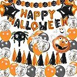 EXTSUD Palloncini Feste Halloween Set Addobbi Forniture Feste con Palloncini Happy Halloween Banner di Zucca Palloncini Coriandoli Palloncini in Lattice Arancione Nero Decorazione da Interno Casa