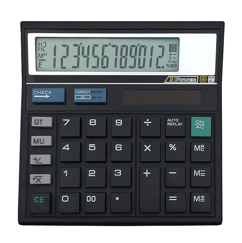 チャネルブッシュ不良電卓 12桁 ソーラーバッテリー デュアル 2ウェイ パワー 大型ディスプレイ ハンドヘルド スタンダード オフィス デスクトップ 電卓