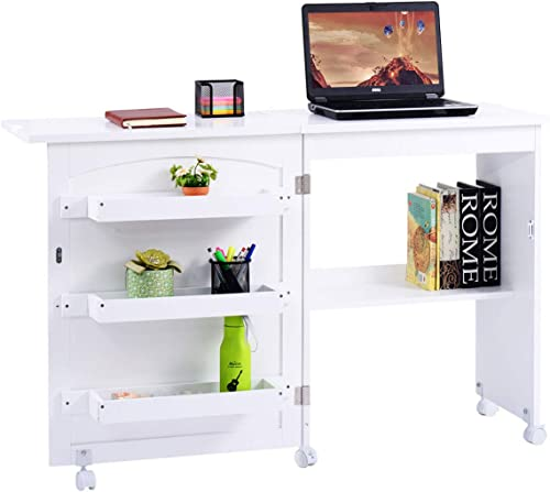 2021 Giantex Folding Desk with Shelves Storage and lowest Lockable Casters Portable Home Desk Apartment Space Saving sale for Small Spaces, White sale