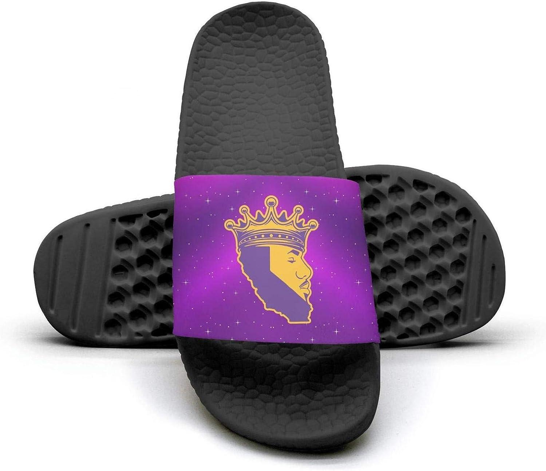 ADIDII Womens Printed Non-Slip Slipper Slide flip Flop Sandals La_Bron_Yellow_Logo_Basketball Summer Indoors