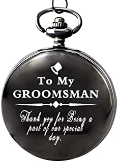 Gifts for Groomsman from Groom Pocket Watch to My Groomsman White Dial for Groomsman, Wedding Gifts for Men,Engraved Pocket Watch with Gift Box for Men