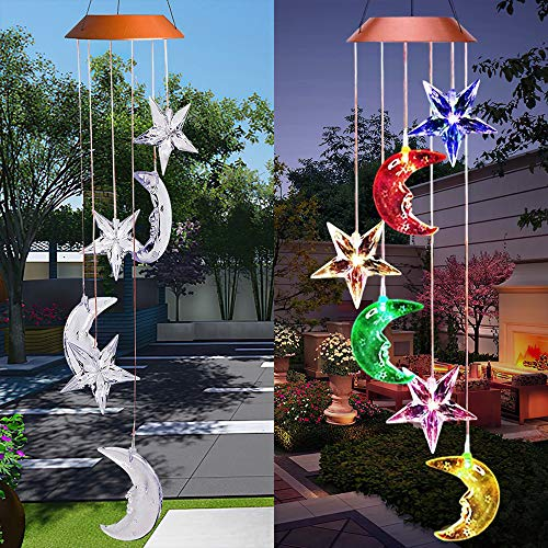 Acexy LED Solar Moon and Star Wind Chime Outdoor with Hook Solar Powered and USB Charging, Waterproof Changing Light Color Mobile Romantic Star Moon Windchime Gifts for Mom (Star, Green)