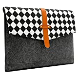 Sinoguo Gray Felt and Real Leather with Black and White Grid and 2 Pockets Carrying Bag Case Sleeve Pouch Protector Holder for 15' Macbook Pro / Macbook Pro with Retina Display and Most Popular 15 Inches Laptop / Notebook / Ultrabook /Netbook