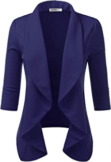 CLOVERY Women's 3/4 Sleeve Lightweight Office Cardigan Open Front Blazer