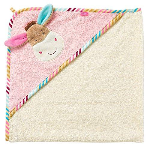 *Fehn 081428 Kapuzenbadetuch Esel Monkey Donkey – Bade-Poncho aus Baumwolle mit niedlichem Esel für Babys und Kleinkinder ab 0+ Monaten – Maße: 80 x 80 cm*