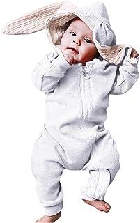 طفل الفتيان الفتيات طويلة الأكمام رومبير آذان أرنب مقنع بذلة الرضع ملابس الملابس (Color : White, Size : 9-12 Months)