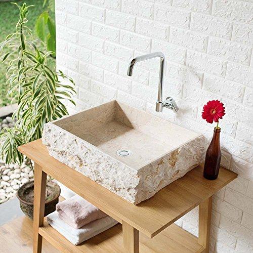 wohnfreuden Marmor Waschbecken KOTAK 50 cm ✓ groß recht-eckig Creme ✓ Steinwaschbecken oder Naturstein Waschbecken für Bad Gäste WC ✓ inkl. techn. Zeichnung