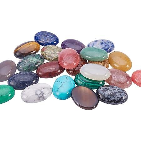 PandaHall 1 Caja 25 Piezas 25 Colores Mezclados Natural/sintético cabujones de Piedras Preciosas, Forma Oval, 25x18x7mm
