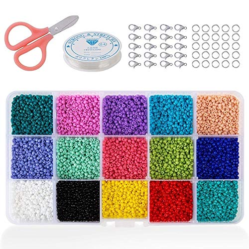 AFANGMQ 15000pcs Glass Semerge Beads, Colores Mixtos Poty Pony Beads Kit Surtido Kit Opaco Colores Lustees Lussed Spacer Beads, 2mm Redondo, Agujero (Color : 1500pcs)