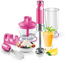 Sencor SHB4368RS Ultra Quiet and Thin Stainless Steel Stick Blender with Variable Speed Control and Accessories, Small, Pink