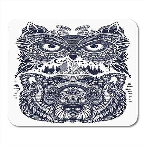 Mauspads Eule und Stammesbär Tattoo Symbol der Weisheit Meditation Mauspad für Notebooks, Desktop-Computer Matten Büromaterial