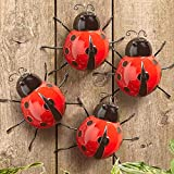 Metal Ladybugs Garden Wall Art Decor Cute Handmade Ladybugs for Backyard Garden Lawn Porch Outdoor Decorations with Red and Black Spots Easy Hanging Yard Wall Ornament Set of 4 Outdoor Wall Decor