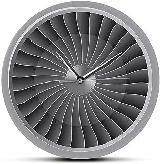 N/C Motor a reacción Turbina Ventilador Aviador Reloj de Pared Avión Moderno Arte de la Pared Reloj Aviación Decoración para el hogar Jet Obra de Arte Piloto Reloj de Pared
