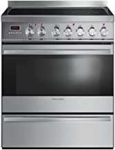Fisher Paykel OR30SDPWSX1 30 Inch Freestanding Electric Range with 4 Elements, Smoothtop Cooktop in Brushed Stainless Steel with Black Glass