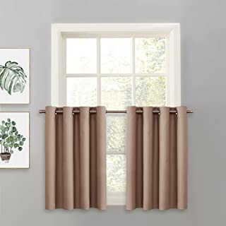 PONY DANCE Window Curtain Tier - Grommet Top Energy Efficient Blackout Drapery Home Decor Valance for Kitchen Bay Windows, 52 x 36 inches, Taupe, Single Panel