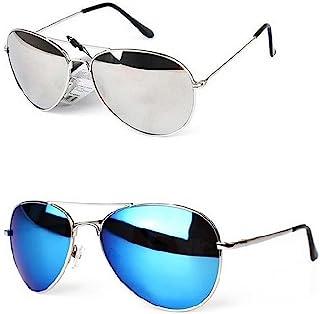 Lunettes de soleil aviateur à demi monture et verres miroir
