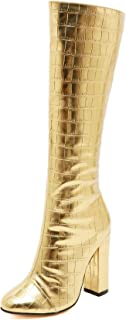 Pofameeta Women Boots High Heels Winter Boots Round Toe Plus Size Gold Black Knee High Boots Chunky Heels