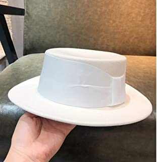 SHENTIANWEI 100% Wool White Women Top Hat Fedora Hat Handmade Hat Bowler Hat Tea Party Hat