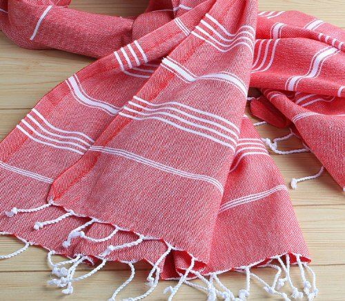 XXL 180x90 cm 100% Turkish Katoen Bath Towel Peshtemal voor Hammam Bathrobe Spa Pool Massage Sauna Beach Yacht Gym Fitness Kitchen Yoga Baby Guest Towel Picnic Table Throw Sarong Fouta Pareo Unisex Pestemal 39x78Red by Hand Loomed Turkey