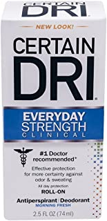 CERTAIN DRI Everyday Strength Clinical Roll On Antiperspirant/Deodorant Morning Fresh 2.5 oz (Pack of 5)