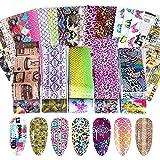 EBANKU 100 Hojas Pegatinas de Transferencia para Decoración de Uñas, Pegatinas Adhesivas para Uñas, Pegatinas de Papel para Uñas, Estampado de Leopardo de Serpiente
