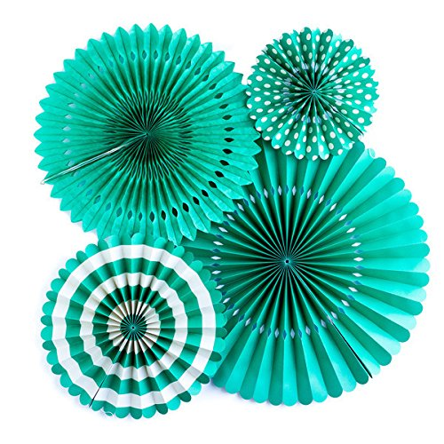 My Mind's Eye Basics Party Fans, Teal Color, Set of 4