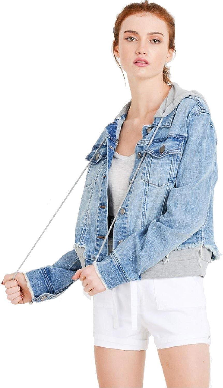 Khanomak Women's Denim Jean with Detachable Hoodie Terry Patch Jacket