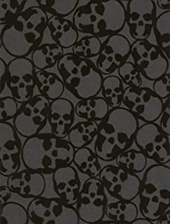 Graham & Brown Barbara Hulanicki Flock Skulls Flocked Wallpaper, Black