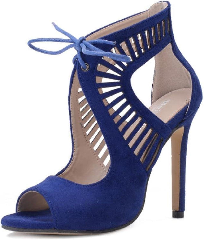 KUKIE Best 4U Frauen Sandalen Sommer Wildleder Peep Toe Schnürung Gummisohle Hhlte 11 cm High Heels Schuhe Pumps Blau