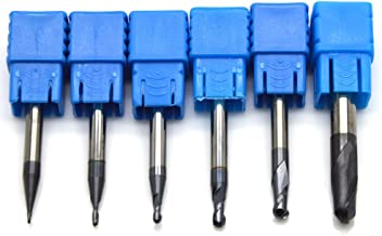 Ougar8 Radius 0.5 0.75 1 1.5 2 3 CNC Milling Cutter Center Cutting Tungsten Carbide TiAlN Coated Ball Nose End mill 2 Flutes Endmills Spiral HRC45 Micrograin solid carbide Router bits(6pcs/Lot)