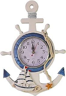 WINOMO Mediterranean Style Anchor Clock Beach Sea Theme Nautical Ship Wheel Rudder Steering Wheel Decor Wall Hanging Decoration