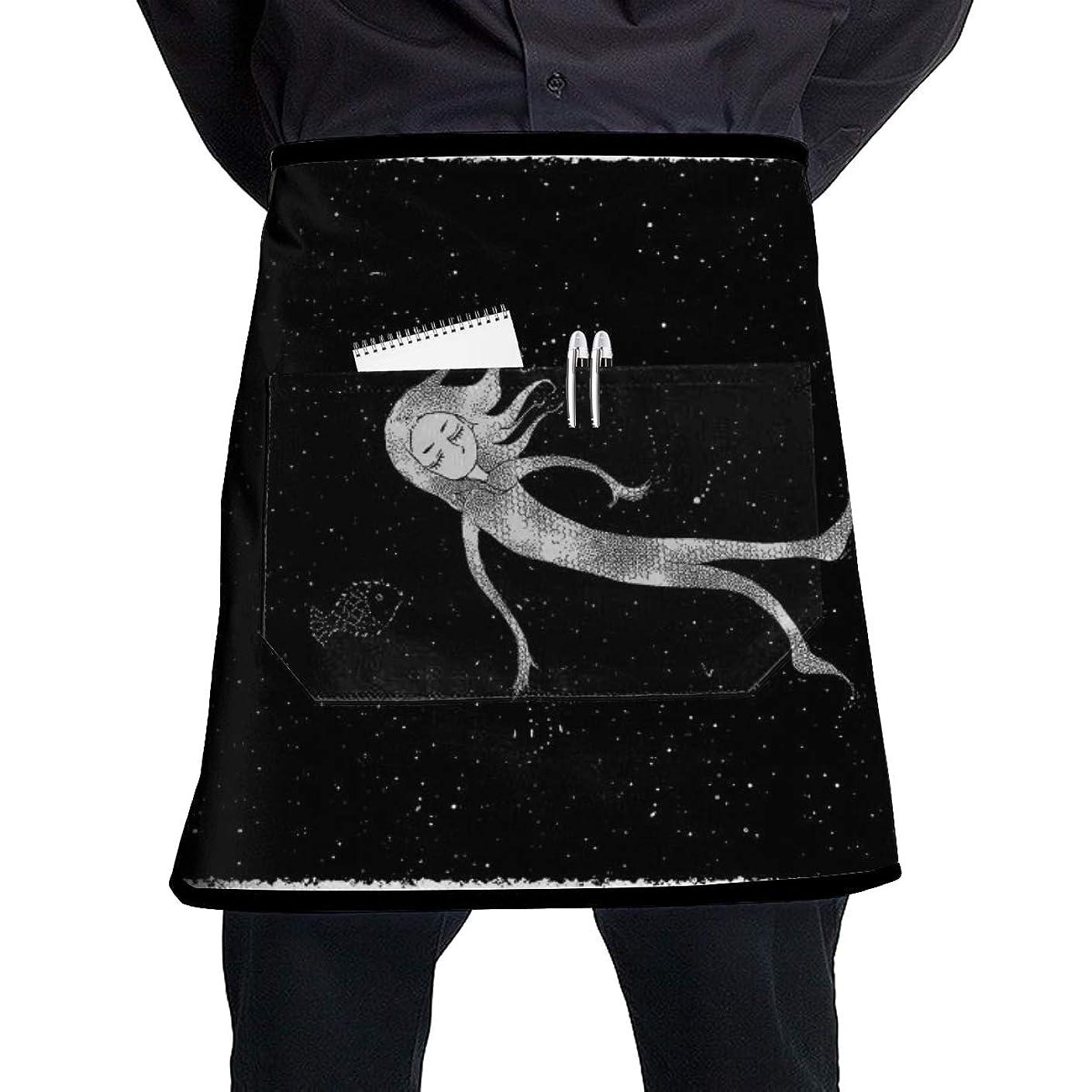 テセウス補助夫婦エプロン ショートエプロン 男性用 女性用 夢 美人魚 白黒 おしゃれ 黒 業務用 ポケット付 ソムリエ カフェ 飲食店 厨房 キッチン サロン 保育士 半身 かわいい 短い ショート エプロン 男女兼用 個性 YAMAYAGO