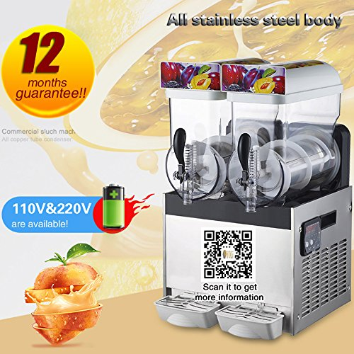 INTBUYING 110V Commercial 2 Tank Frozen Drink Slush Making Machine Smoothie Maker 30L