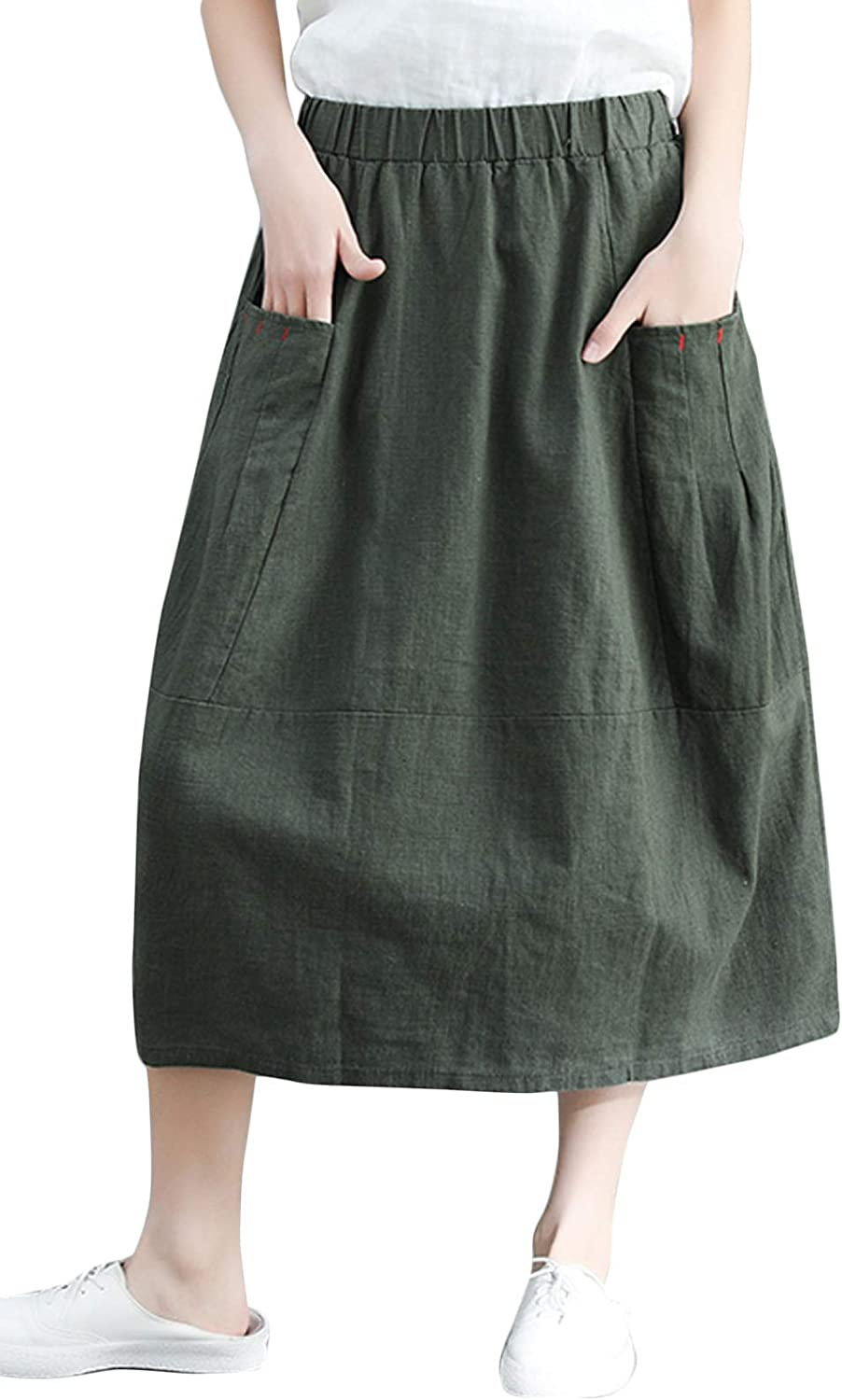 Flygo Women's Casual High Waisted A-Line Midi Skirts with Pockets