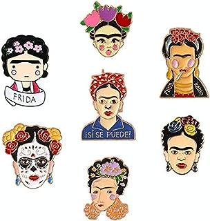 AOVITY Set of 7 pcs Fashion Cartoon Enamel Brooch Pins Set for Unisex Child Women's Clothing Decorate-Frida Kahlo