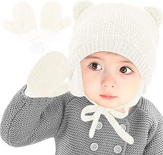 Gifort Cappello Invernale Bambino e Guanti 2 Pezzi/Set, Berretto Neonato Bambina Cappelli Caldi per Neonati con Paraorecch...