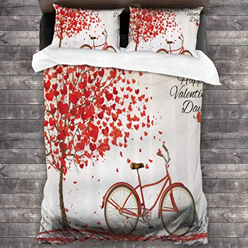 MAYUES Duvet cover bedding Set,Romantic Tree With Blooming Hearts With Bike And Petals Vintage Artwork,3 Piece Set bedding with 2 pillowcases,Single(135 * 210cm)