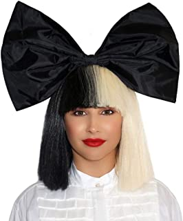 OFFICIALLY LICENSED Sia Costume Wig 2 Tone Half Blonde Black Bob Wig with black Bow Premium Quality Synthetic Hair SIA Cosplay Wigs For Epic Halloween & Rocker Parties - Multicolor Short Black & White Wig For Women & Girls