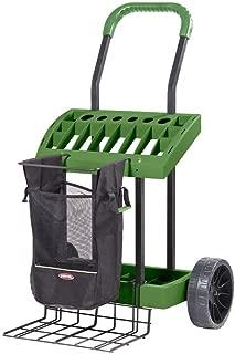 SuperDuty Lawn & Garden ToolBox on Never Flat Wheels & 120 Lb. Capacity Lift Plate-Made In USA - Organize & Store Lawn & Garden Tool Garage Storage Rack & Yard Cart Garden Wheelbarrow Wagon (SD490)