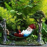 WXJZ Garden Statue Gartenzwerg Auf Schaukel Handmade HäNgematte AuãEndekoration Gartenfiguren Wasserdicht Kunstharz 24cm Liegender Zwerg,FüR AußEn Dekoration