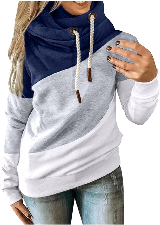 felwors Sweatshirt for Women, Womens Pullover Long Sleeve Fall Hoodies Color Block Tunics Loose Casual Comfy Sweatshirts