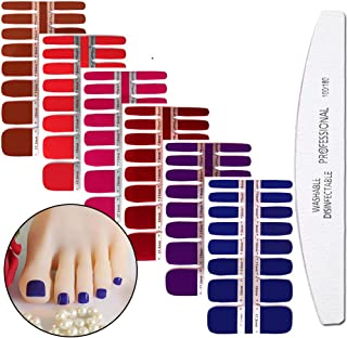 WOKOTO 6 Sheets Toenail Art Polish Stickers Strips Set Solid Color Manicure Decoration Adhesive Nail Wraps Decal Tips With 1Pc Nail File