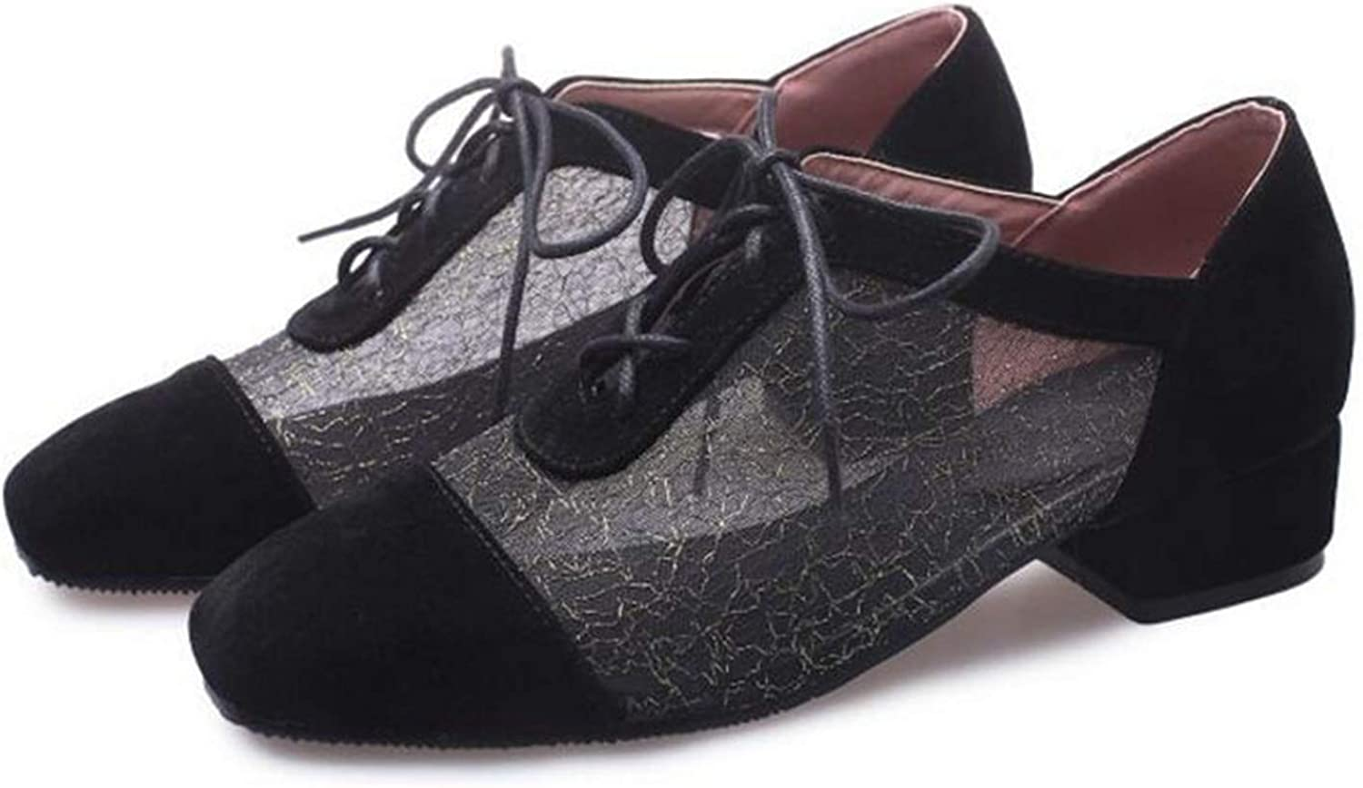 Lishfun Mesh Flats Lace Loafers Thick Heels Comfort Casual shoes Zapatillas Hombre