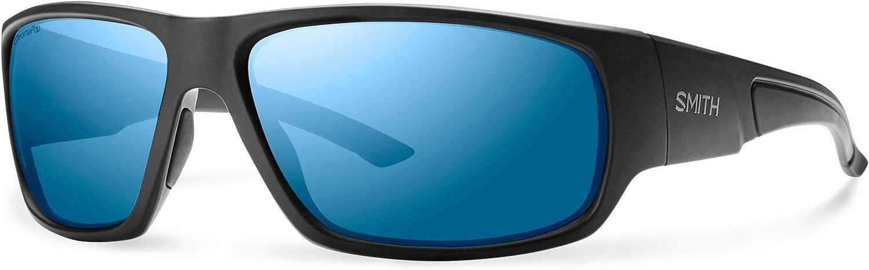 Smith Optics Elite Discord Chromapop+ Polarized Elite Sunglasses, Matte Black, bluee Mirror