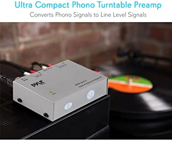 Pyle Phono Turntable Preamp - Mini Electronic Audio Stereo Phonograph Preamplifier with RCA Input, RCA Output & Low N...