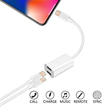 Dual Ports Adapter Splitter, 2 in 1 Headphone Jack Aux Audio & Charger Adapter Cable Connector Compactible for Ip7/ 7 Plus/ 8/Plus/X (Support Calling + Sync + Music Control + Charge)
